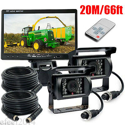 "2x Wired 66ft IR Rear View Backup Cameras System+7""Monitor F Truck RV Car 12-24V"