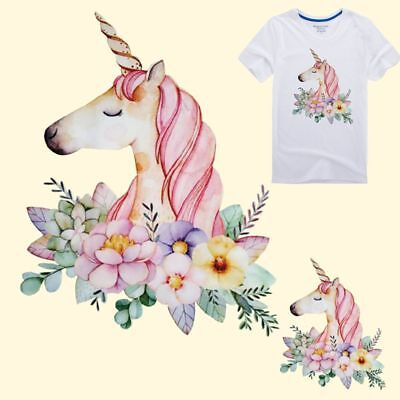 Unicorn Cartoon Iron-On DIY T-Shirt Clothing Heat Transfer Sticker Patch Hot