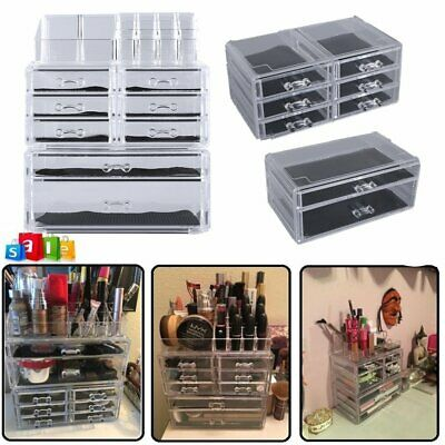 Extra Large 5Tier Clear Acrylic Cosmetic Makeup Cube Organizer Storage Drawer BT
