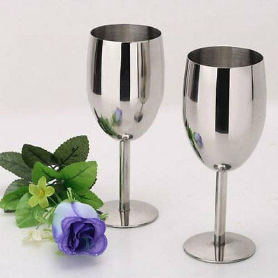 Stainless steel 2pcs wine glasses Creative Cup Goblets Bar Restaurant 8106HC