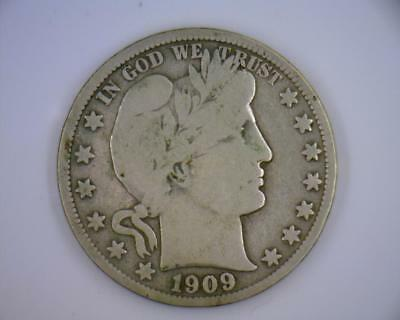 1909-S Silver 50 cents Barber Halves VG - F (RC2013)