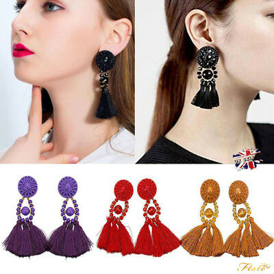 NEW Women Fashion Rhinestone Long Tassel Dangle Earrings Fringe Drop Earrings UK