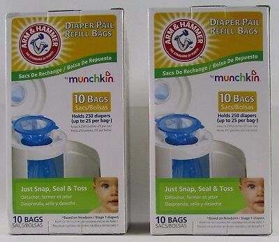 Lot Of 2 Boxes Of 10 Arm & Hammer Diaper Refill Bags By Munchkin