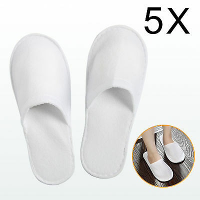 10 X PAIRS WHITE TOWELLING HOTEL SLIPPERS ClOSED TOE TERRY SPA GUEST DISPOSABLE
