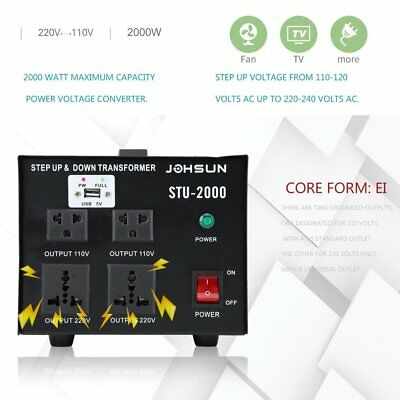 NEW 2000W USB Voltage Converter Transformer Heavy Duty Step Up/Down 110-220V BP