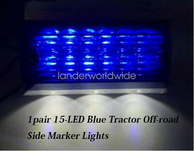1pair 24V 15-LED Blue Clearence Tractor Off-road vehicle Side Marker Lights Lamp