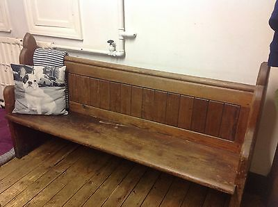Victorian Pitch Pine Church Pew Kitchen Hall Window Seat Gothic