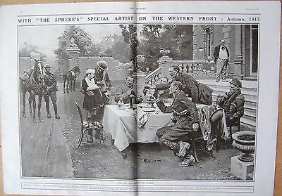 1917 Antique Print - Ww1- Autumn 1917- The Only Wounded In The Village