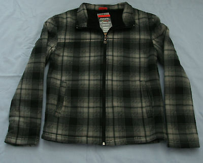 Boy's Lined Green Plaid Zip Fleece Jacket - Size 12 NWT