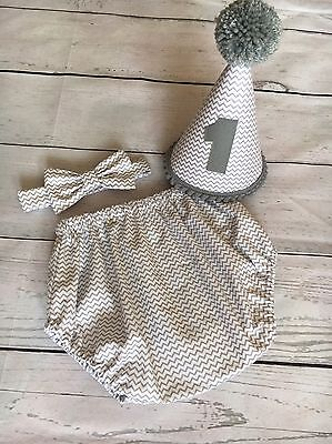 Baby Boys Grey chevron 1st Birthday Cake Smash Outfit