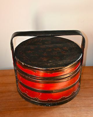 Antique chinese oriental lacquered wedding hamper 1860