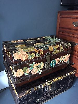 Vintage Victorian Decoupage Metal Trunk With Original Brass Clasp Rare