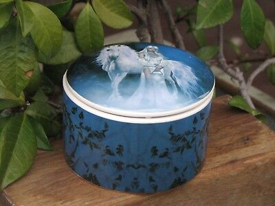 Round Ceramic Unicorn Trinket Box - Perfect Crystal & Jewellery Box