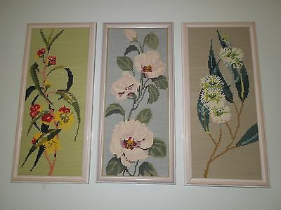 Vintage Cross Stitch Tapestry Set X 3, Australian Flowers, Great Condition