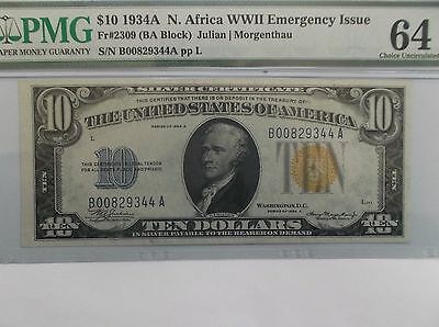 $10 1934A N. AFRICA (YELLOW SEAL)  WWII Silver Certificate PMG 64!!!