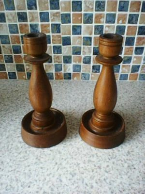 Pair  Vintage Large Solid Wood Candlestick 18Cm High X 8Cm Diameter
