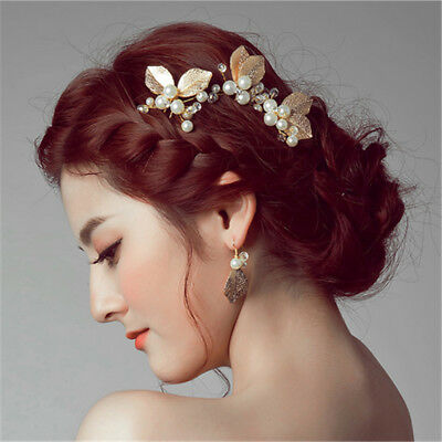 Wedding Hair Pins Bridal Accessories Pearl Leaf Metal Clips Comb Diamante Slide