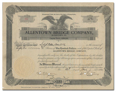 Allentown Bridge Company Stock Certificate (8th Avenue/Albertus L Meyers Bridge)