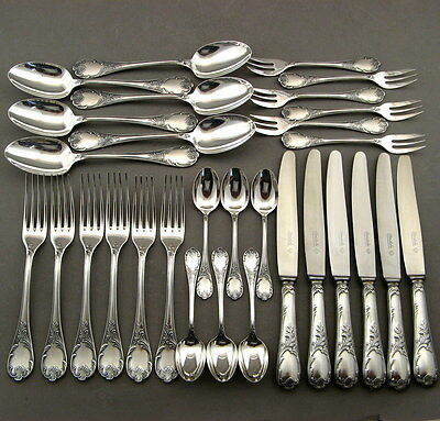 Christofle Marly Silverplated Flatware 6 Place Setting 30 Pieces