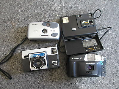 Vintage Lot of 4 Film Cameras, Canon, Kodak, Excell, UNTESTED,AS-IS, See Details