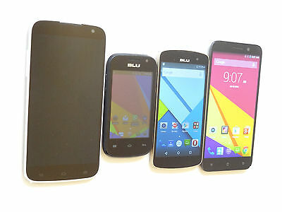 Lot of 4 BLU Dual Sims GSM Unlocked Smartphones Mixed Models 3 Power On AS-IS !