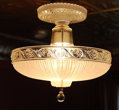 Antique Vintage 1930's  40's art deco  ceiling fixture chandelier restored
