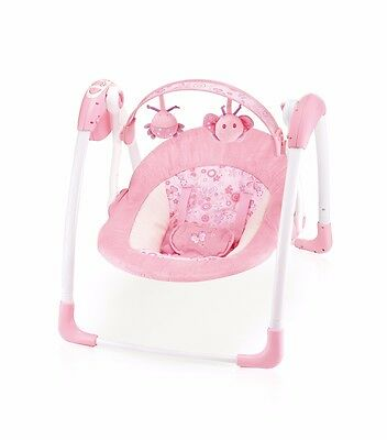 Cute Baby -Deluxe Pink Baby Swing - Compact & Elegant(6508)