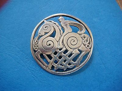 Antique Beautiful Stamped Solid Silver Celtic Horseman Kilt Pin Brooch