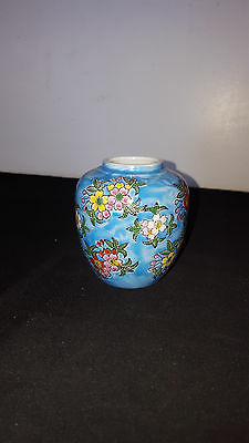 """Small Oriental Design Pottery Vase Blue w/ Flowers 3 1/2"""" tall"""