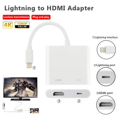 Lighting to AV HDMI/HDTV TV Digital Cable Adapter For iPhone 5s 6 6s 7 iPad Air