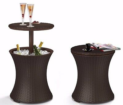 Keter Pacific Rattan Style Outdoor Garden Coffee Table & Party Ice Bucket Cooler