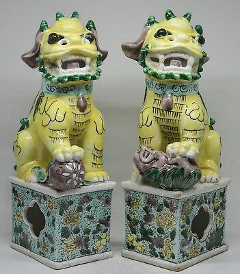 Chinese Porcelain Hand Painted Foo Dog Figurine ~ Large  ~ 10.5 Inches Tall  ~