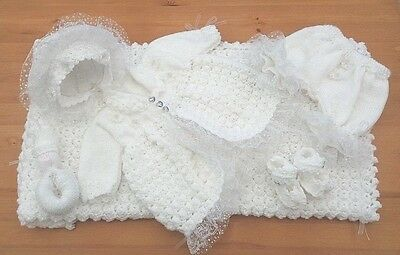 Mimsy*Newborn*Reborn*Beautiful Baby Girls Layette*Dolls Hand Knitted Clothes Set