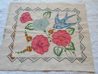 Vintage Pillow Cover Unsewn Vogart Style Bluebird Floral Embroidery French Knots