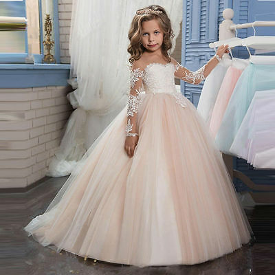Long Lace Princess Wedding Ball Gown Party Communion Pageant Flower Girl Dress
