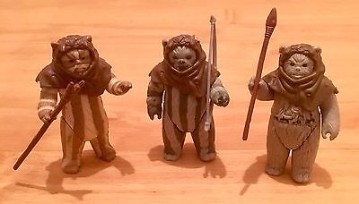 Vintage Bundle Of Star Wars Figures Job Lot Of Ewok's With Head Gear And Weapons