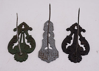 Lot of 3 Decorative Cast Iron Wall Receipt Spike Hooks (A2R) Ornate Victorian