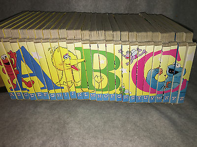 Lot 26 Sesame Street ABC Interlocking Puzzle Board Books Complete Set GUC!