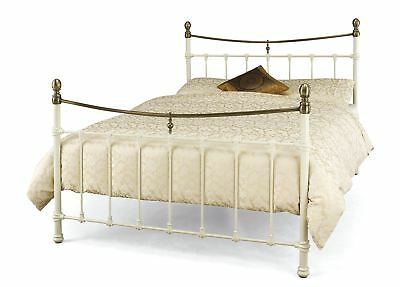 Edwardian Style Classic 4Ft6 Metal Bed Frame - Double - Ivory / Antique Bronze