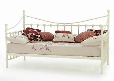 Marseilles Classically Designed 3ft 90cm Metal Day Bed - Single - Ivory