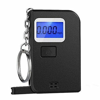 Black Mini Alcohol Tester Portable Keychain Breathalyzer Digital Breath Keyring