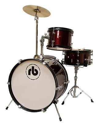 RB 3-Piece Junior Drum Kit with Cymbal, Hardware & Throne - Red RB-JR3-MWR