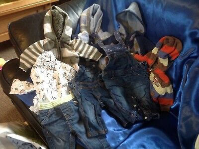 Bundle four hooded jumpers, two dungarees, bird shirt and jeans 0-3, used. Boys