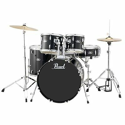 Pearl Roadshow RS525S 5-Piece Drumset w/ Hardware & Cymbals - Jet Black