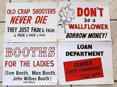Harold's Club Reno Casino Posters Vintage 1960s Lot of 4 Crap Shooter Booths #16