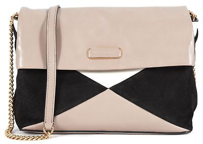 MARC BY MARC JACOBS NWT Taupe Black White Suede Leather Colorblock Shoulder Bag