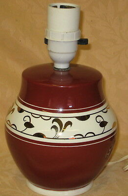 Lovely Grays Pottery 1940's Burgundy & Gold Table Lamp - pattern no. A9623