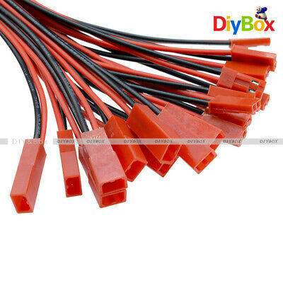 10Pairs JST Connector Plug Cable Line 100mm Male+Female for RC BEC Lipo Battery