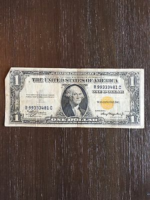 Series 1935 A $1 Dollar Silver Certificate Yellow  Seal North Africa Note