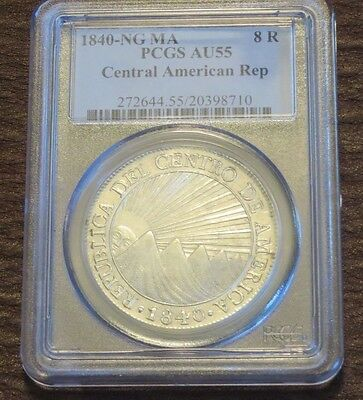 1840-Ng Ma Pcgs Au55 Central American Republic Car 8 Reales